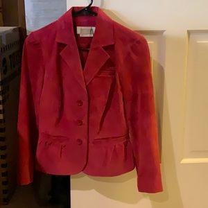 Raspberry pink suede jacket from Bloomingdale Sz 2